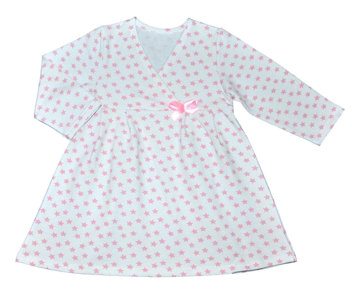 Сорочка ночная для девочки Трон-плюс, цвет: белый, розовый, рисунок звезды. 5522. Размер 80/86, 1-2 года5522Яркая сорочка Трон-плюс идеально подойдет вашей малышке и станет отличным дополнением к детскому гардеробу. Теплая сорочка, изготовленная из футера - натурального хлопка, необычайно мягкая и легкая, не сковывает движения ребенка, позволяет коже дышать и не раздражает даже самую нежную и чувствительную кожу малыша. Сорочка трапециевидного кроя с длинными рукавами, V-образным вырезом горловины. Полочка состоит из двух частей, заходящих друг на друга. По переднему и заднему полотнищам юбки заложены небольшие складки. Сорочка оформлена атласным бантиком.В такой сорочке ваш ребенок будет чувствовать себя комфортно и уютно во время сна.