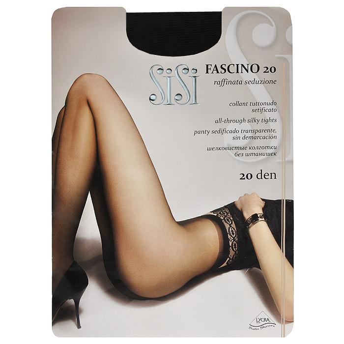 Колготки женские Sisi Fascino 20, цвет: черный. SSP-000980. Размер 3Fascino 20_NeroЭластичные прозрачные однородные колготки Sisi Fascino 20 с удобными швами, без штанишек, гигиеничной ластовицей и невидимым носком. Размер XL с задней вставкой.