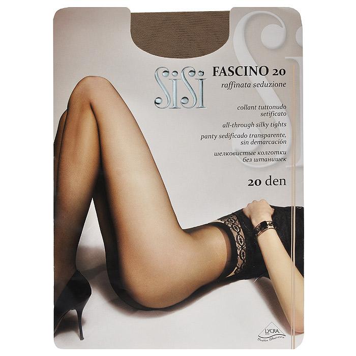 Колготки женские Sisi Fascino 20, цвет: загар. SSP-001888. Размер 4Fascino 20_DainoЭластичные прозрачные однородные колготки Sisi Fascino 20 с удобными швами, без штанишек, гигиеничной ластовицей и невидимым носком. Размер XL с задней вставкой.