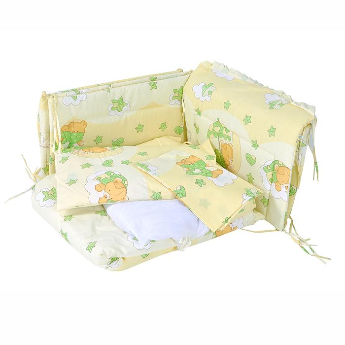 """Комплект в кроватку """"Мишкин сон"""" прекрасно подойдет для кроватки вашего малыша, добавит комнате уюта и согреет в прохладные дни. В качестве материала верха использован натуральный хлопок, мягкая ткань не раздражает чувствительную и нежную кожу ребенка и хорошо вентилируется. Бампер, подушка и одеяло наполнены холлконом - экологически безопасным гипоаллергенным синтетическим материалом, обладающим высокими теплозащитными свойствами. Элементы комплекта оформлены изображениями симпатичных медвежат.  Комплект состоит из: бампера с несъемными чехлами,  балдахина с сеткой,  подушки с клапаном,  одеяла,  пододеяльника,  наволочки,  простыни.  Для производства изделий """"Сонный гномик"""" используются только высококачественные ткани ведущих мировых производителей. Благодаря особым технологиям сбора и переработки хлопка сохраняется естественная природная структура волокна. Характеристики:Материал: бязь, 100% хлопок. Наполнитель бампера, подушки и одеяла: холлкон. Материал балдахина: сетка. Размер одеяла: 140 см х 110 см. Размер бампера: 360 см х 38 см. Размер балдахина: 450 см х 170 см. Размер подушки: 60 см х 40 см. Размер пододеяльника: 144 см х 108 см. Размер наволочки: 60 см х 40 см. Размер простыни: 140 см х 100 см."""