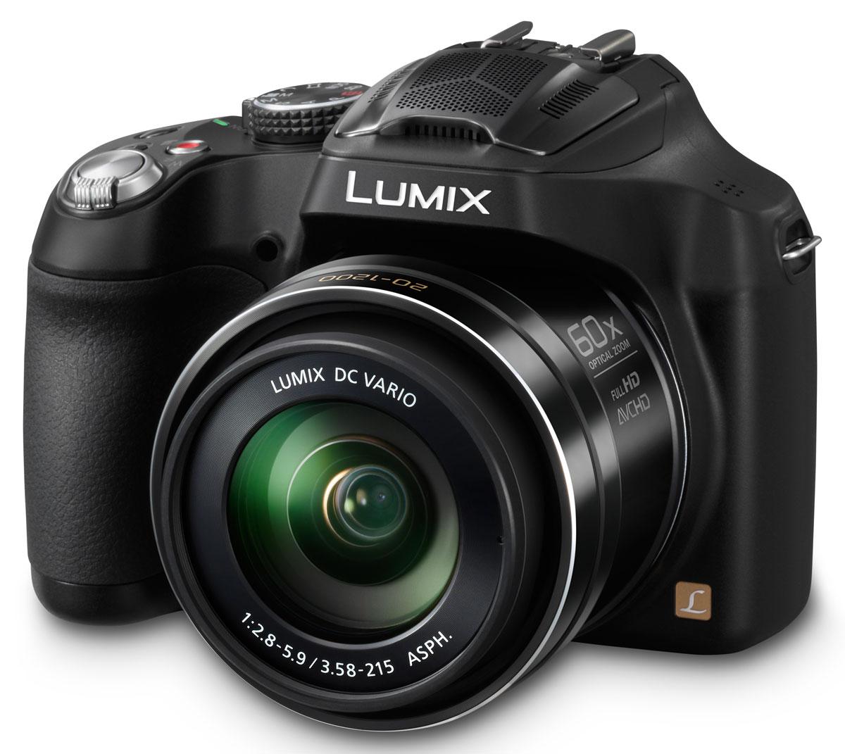 Panasonic Lumix DMC-FZ72 Black цифровая фотокамераDMC-FZ72EE-KЦифровая фотокамера PAnasonic Lumix DMC-FZ72 предлагает мощный оптический зум и широкие возможности ручного управления. Фотоаппарат оснащен универсальным широкоугольным объективом Lumix DC Vario с фокусным расстоянием 20 мм и 60х оптическим зумом (20—1200 мм в эквиваленте 35 мм камеры), который прекрасно подходит как для съемки пейзажей, так и, например, диких животных и птиц с большого расстояния.Широкоугольный объектив с 60х оптическим зумом и оптической стабилизацией изображения POWER O.I.S.:Фотоаппарат DMC-FZ72 оснащен универсальным широкоугольным объективом Lumix DC Vario с фокусным расстоянием 20 мм и 60х оптическим зумом (20—1200 мм в эквиваленте 35 мм камеры). Конструкция объектива включает 14 элементов, объединенных в 12 групп, в том числе 3 линзы со сверхнизкой дисперсией и 6 асферических линз с 9 асферическими поверхностями — такое решение позволило добиться невероятной компактности корпуса при высочайшем качестве изображения. Функция Интеллектуальный зум позволяет расширить диапазон зуммирования до 120х — это стало возможным благодаря технологии Интеллектуальное разрешение, сохраняющей качество изображения даже при цифровом масштабировании. А оптический стабилизатор изображения POWER O.I.S. эффективно подавляет размытие изображения, вызванное дрожанием рук.Высококачественная Full HD видеосъемка с разрешением 1920х1080 пикселей:Фотоаппарат DMC-FZ72 поддерживает Full HD видеосъемку с разрешением 1920х1080/60i(NTSC) / 50i(PAL) в формате AVCHD (MPEG-4/H.264). При этом на корпусе камеры предусмотрена отдельная кнопка, позволяющая мгновенно начать съемку видео прямо из фоторежима без изменения каких-либо дополнительных настроек. Высочайшего качество звука удалось добиться благодаря технологии Dolby Digital Stereo Creator и обновленному зум-микрофону с защитой от ветра — он подавляет шум ветра приблизительно на 70% эффективнее, чем аналогичная функция фотокамеры DMC-FZ62.MOS-сенсор с разрешением 16,1