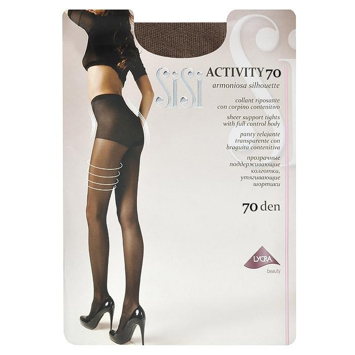 Колготки женские Sisi Activity 70, цвет: загар. Размер 4Activity 70_DainoПрозрачные поддерживающие колготки Sisi Activity 70 с плотными утягивающими шортиками. Гигиеническая ластовица, удобные швы, невидимый носок.