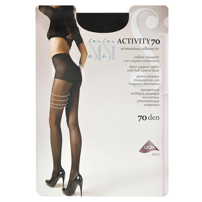 Колготки женские Sisi Activity 70, цвет: черный. Размер 2Activity 70_NeroПрозрачные поддерживающие колготки Sisi Activity 70 с плотными утягивающими шортиками. Гигиеническая ластовица, удобные швы, невидимый носок.