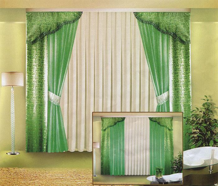 Комплект штор Zlata Korunka, на ленте, цвет: белый, зеленый, высота 250 смБ015 зеленыйКомплект штор Zlata Korunka великолепно украсит любое окно. Комплект состоит из четырех штор, тюля и двух ламбрекенов. Для более изящного расположения штор предусмотрены подхваты. Тюль и две шторы выполнены из вуалевой ткани, две другие шторы и ламбрекены изготовлены из жаккарда зеленого цвета с изящным рисунком. Ламбрекены и подхваты оформлены бахромой. Оригинальный дизайн и контрастная цветовая гамма привлекут к себе внимание и органично впишутся в интерьер комнаты. Все предметы комплекта оснащены шторной лентой для собирания в сборки. Характеристики:Материал: 100% полиэстер. Цвет: белый, зеленый. Размер упаковки: 29 см х 42 см х 7 см. Артикул: Б015. В комплект входит: Штора - 2 шт. Размер (ШхВ): 40 см х 250 см. Штора - 2 шт. Размер (ШхВ): 140 см х 250 см. Тюль - 1 шт. Размер (ШхВ): 500 см х 250 см. Ламбрекен - 2 шт. Размер (ШхВ): 40 см х 90 см. Подхват - 2 шт.
