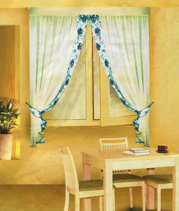 Комплект штор для кухни Zlata Korunka, на ленте, цвет: зеленый, кремовый, высота 170 см. Б078 коврик домашний sunstep цвет кремовый 120 х 170 х 4 см
