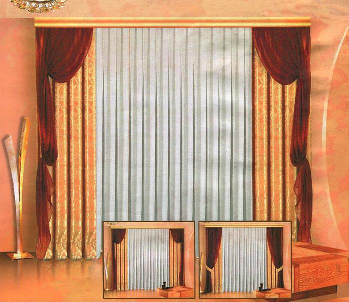 Комплект штор Zlata Korunka, на ленте, цвет: бежевый, шоколадный, высота 250 см. Б013Б013 бежево/шоколадныйРоскошный комплект штор Zlata Korunka состоит из 4 штор, тюли белого цвета и 4 подхватов. 2 шторы бежевого цвета изготовлены из жаккарда, украшены изысканным рисунком. 2 шторы шоколадного цвета и тюль, выполненные из вуалевой ткани, представляют собой полупрозрачные полотна. Шторы снабжены 4 подхватами для изящного присборивания.Оригинальный дизайн и изысканная цветовая гамма привлекут к себе внимание и органично впишутся в интерьер комнаты. Все элементы комплекта оснащены шторной лентой. Характеристики: Материал: 100% полиэстер. Цвет: бежевый, шоколадный. Размер упаковки: 42 см х 30 см х 8 см. Производитель: Польша. Изготовитель: Россия. Артикул: Б013 В комплект входит: Штора - 2 шт. Размер (Ш х В): 140 см х 250 см. Штора - 2 шт. Размер (Ш х В): 140 см х 250 см. Тюль - 1 шт. Размер (Ш х В): 500 см х 250 см. Подхват - 4 шт. Размер (Ш х Д): 0,7 см х 96 см.