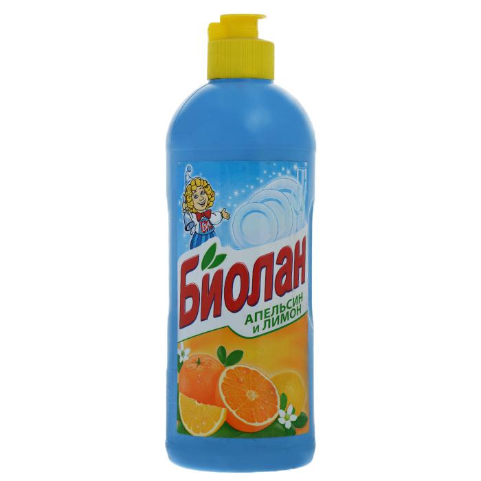 Жидкость для мытья посуды Биолан Апельсин и лимон, 500 мл371-3Жидкость для мытья посуды Биолан Апельсин и лимон эффективно удаляет жир, придает блеск посуде, не оставляя разводов. Отлично пенится и легко смывается водой. Обладает приятным ароматом цитрусовых. Характеристики: Объем: 500 мл. Артикул: 371-3. Товар сертифицирован.Как выбрать качественную бытовую химию, безопасную для природы и людей. Статья OZON Гид