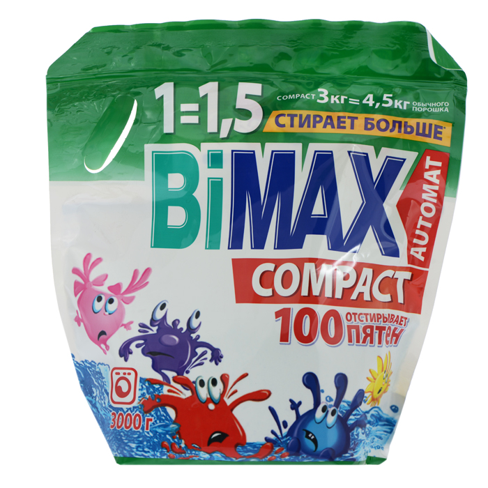 Стиральный порошок BiMax 100 пятен, 3 кг vestel стиральный порошок 3 кг
