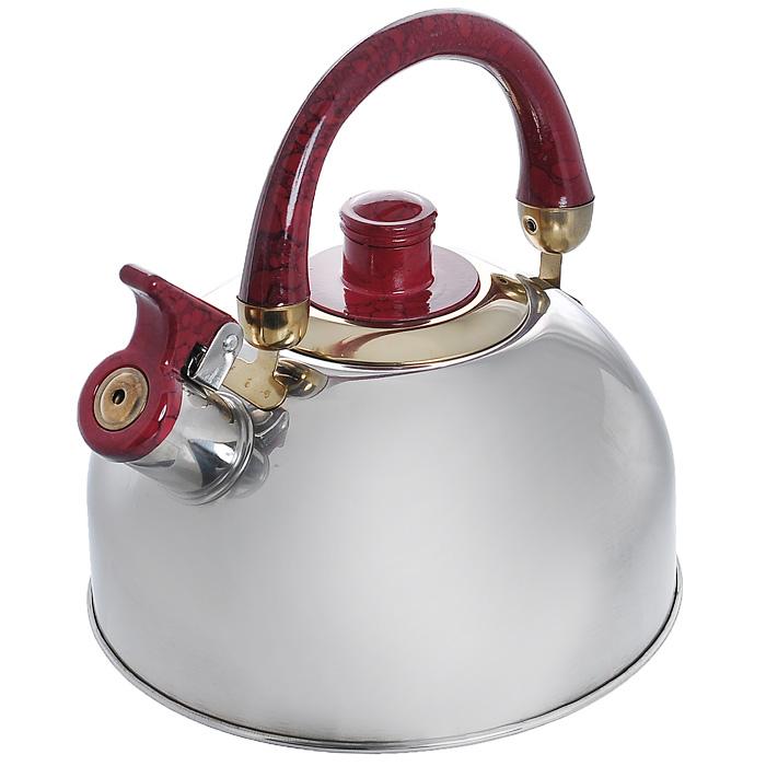 Чайник Mayer & Boch со свистком, цвет: красный, 1,6 л. MN162293-FR-10-01-350Чайник Mayer & Boch изготовлен из высококачественной нержавеющей стали. Гладкая и ровная поверхность существенно облегчает уход.Чайник оснащен удобной бакелитовой ручкой, которая не нагревается даже при продолжительном периоде нагрева воды. Носик чайника имеет насадку-свисток, что позволит вам контролировать процесс подогрева или кипячения воды.Выполненный из качественных материалов чайник Mayer & Boch при кипячении сохраняет все полезные свойства воды.Чайник можно использовать на всех видах плит, кроме индукционных. Характеристики:Материал: нержавеющая сталь, бакелит. Цвет: красный. Объем: 1,6 л. Диаметр основания чайника: 18,5 см. Высота чайника (с учетом ручки): 19 см. Размер упаковки: 19 см х 19 см х 15 см. Артикул: MN1622.