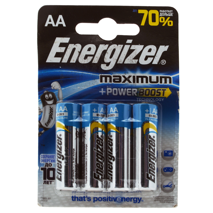 Батарейка алкалиновая Energizer Maximum, тип АА, 4 шт батарейка energizer 16шт max aa lr6 1 5v