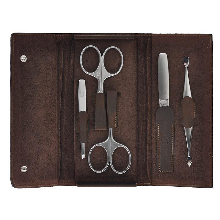 Zwilling Маникюрный набор Twinox Mountain, цвет: коричневый, 5 предметов. 97407-00797407-007Маникюрный набор Zwilling Twinox Mountain, состоит из 5 предметов: ножниц для ногтей, ножниц для кутикулы, скошенного пинцета, пилочки для ногтей, двойного маникюрного инструмента. Инструменты изготовлены из высококачественной нержавеющей стали и хранятся в футляре коричневого цвета отделка винтаж из натуральной кожи, закрывающемся небольшими клапанами на металлической кнопке.Уход: Инструменты предохранять от падения на пол. Время от времени смазывать чистым маслом область соединения, винт, внутреннюю часть и режущие кромки кусачек и ножниц. Использовать только по назначению! Затачивать инструменты у специалиста. Хранить в недоступном для детей месте. Характеристики:Материал: нержавеющая сталь. Длина ножниц для ногтей: 9,5 см. Длина ножниц для кутикулы: 9,5 см. Длина пинцета: 9 см. Общая длина пилочки: 13 см. Длина пилящей поверхности: 6,7 см. Длина двойного маникюрного инструмента: 12,5 см. Материал футляра: металл, натуральная кожа. Размер футляра (ДШВ): 17,5 см х 8 см х 2,5 см. Размер упаковки (ДШВ): 22 см х 13,5 см х 4 см. Производитель: Италия. Артикул: 97407-007. Товар сертифицирован.