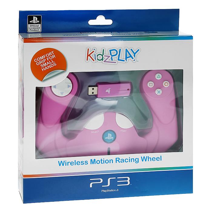 Детский беспроводной руль Kidz Play для PS3 (розовый)WD 184Полнофункциональный беспроводной контроллер движений в виде руля Kidz Play позволяет игрокам младшего возраста получать самые яркие впечатления от гоночных игр с максимальным комфортом и удобством.Корпус устройства пропитан антибактериальным составом, уничтожающим до 99,9% вредоносных микроорганизмов в течение 24 часов. Состав добавлен к пластику перед формовкой, он не смоется и не сотрется во время использования устройства и обеспечит непрерывную защиту в течение всего срока службы устройства, не нарушая эстетику внешнего вида и не оказывая негативного влияния на эксплуатационные качества.