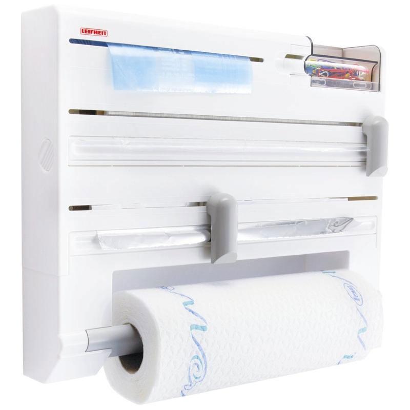 Держатель кухонный Parat Plus, цвет: белый25723Кухонный держатель Parat Plus, изготовленный из высокопрочного пластика, крепится к стене и не занимает много места. В держателе предусмотрены отделения для стандартных рулонов с бумажными полотенцами, полиэтиленовой пленкой (max 60 м), фольгой (max 30 м) и пакетами для замораживая, а также дозатор для скотча и контейнер для мелочей. Устройство оснащено режущими ползунками, которые обеспечивают всегда ровную резку фольги и пленки. После каждой резки всегда остается готовый к захвату край, благодаря чему отпадает необходимость в утомительном открывании прибора перед каждым применением. Рулоны закладываются спереди (открывается крышка, вставляется рулон и крышка закрывается).В комплект входят: кухонный держатель, крепежные элементы, рулон с бумажными полотенцами. Размер держателя: 37 см х 27,5 см х 6 см. Размер рулона бумажных полотенец: 26 см х 10 см х 10 см.Максимальный диаметр рулона бумажных полотенец: 10 см. Максимальная длина фольги: 30 м. Максимальная длина пленки: 60 м.