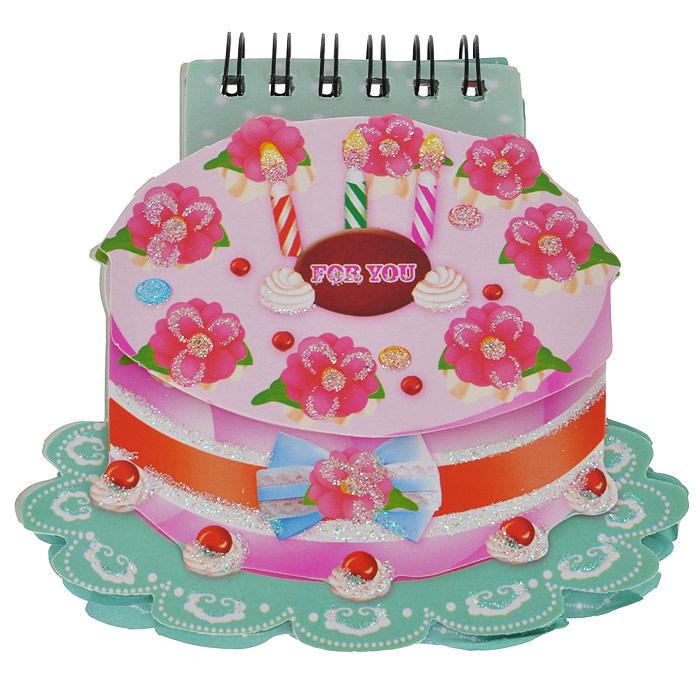 Блокнот Торт, цвет: бирюзовый, розовый. 003503003503Блокнот для настоящей принцессы Торт идеально подойдет для памятных записей, любимых стихов, рисунков и многого другого. Блокнот выполнен в форме тортика, украшен блестками и ягодками и скреплен сбоку металлическим болтом и дополнительно резинкой. Листочки блокнота легко вращаются.Блокнот станет забавным и практичным подарком: он не затеряется среди бумаг и долгое время будет вызывать улыбку окружающих. Характеристики:Материал: картон, бумага, металл. Цвет: бирюзовый, розовый. Размер блокнота: 11 см х 10,5 см х 1,5 см. Артикул: 003503.