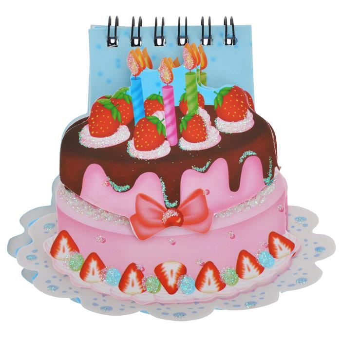Блокнот Торт, цвет: голубой, розовый. 003504003504Блокнот для настоящей принцессы Торт идеально подойдет для памятных записей, любимых стихов, рисунков и многого другого. Блокнот выполнен в форме тортика, украшен блестками и ягодками и скреплен сбоку металлическим болтом и дополнительно резинкой. Листочки блокнота легко вращаются.Блокнот станет забавным и практичным подарком: он не затеряется среди бумаг и долгое время будет вызывать улыбку окружающих. Характеристики:Материал: картон, бумага, металл. Цвет: голубой, розовый. Размер блокнота: 11 см х 10,5 см х 1,5 см. Артикул: 003504.
