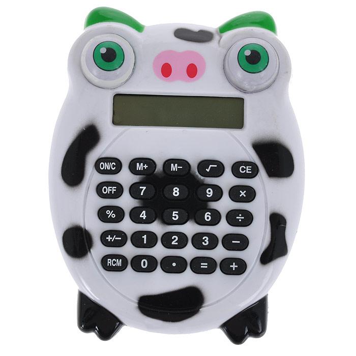 Калькулятор Корова, цвет: белый, черный. 003579003579Калькулятор, выполненный в виде забавной коровы с вращающимися глазками, позволит вам без труда провести самые сложные вычисления за считанные секунды. Оригинальный дизайн привлечет внимание и украсит ваш рабочий стол.Такой калькулятор станет отличным подарком и незаменимым аксессуаром, он несомненно, удивит и порадует получателя. Характеристики:Материал: пластик. Размер калькулятора: 7,5 см х 9 см х 2 см. Артикул: 003579.