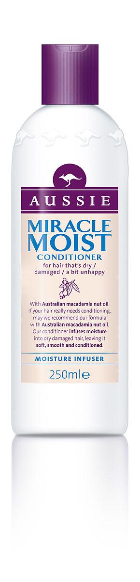 Aussie Бальзам-кондиционер Miracle Moist, для сухих, поврежденных волос, 250 мл aussie бальзам ополаскиватель mega instant для ежедневного использования 250 мл