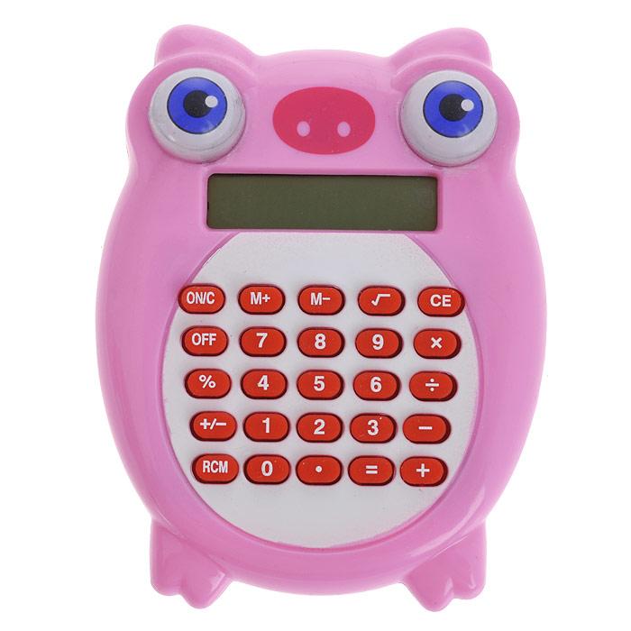 Калькулятор Свинка, цвет: розовый. 003578003578Калькулятор, выполненный в виде забавной свинки с вращающимися глазками, позволит вам без труда провести самые сложные вычисления за считанные секунды. Оригинальный дизайн привлечет внимание и украсит ваш рабочий стол.Такой калькулятор станет отличным подарком и незаменимым аксессуаром, он несомненно, удивит и порадует получателя. Характеристики:Материал: пластик. Размер калькулятора: 7,5 см х 9 см х 2 см. Артикул: 003578.