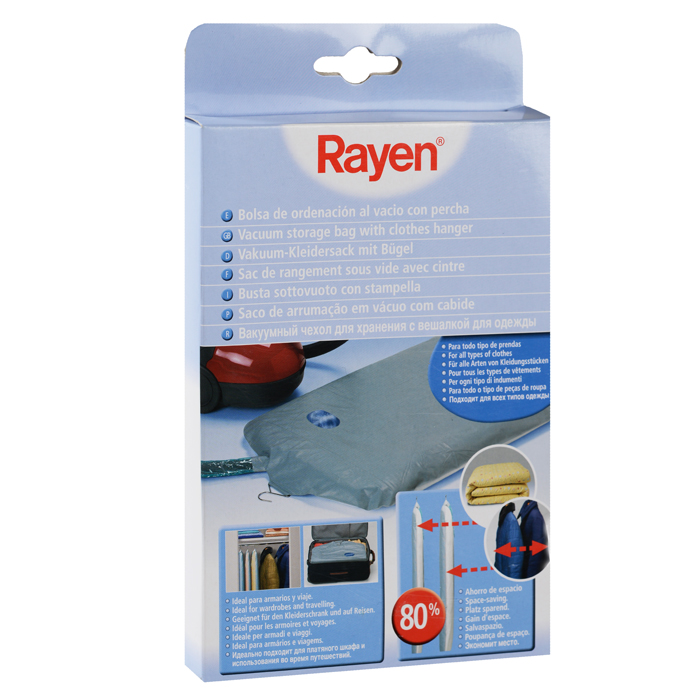 Вакуумный чехол Rayen с вешалкой для одежды, 110 см х 60 см вакуумная упаковка rayen для одежды 30 х 25 х 45 см
