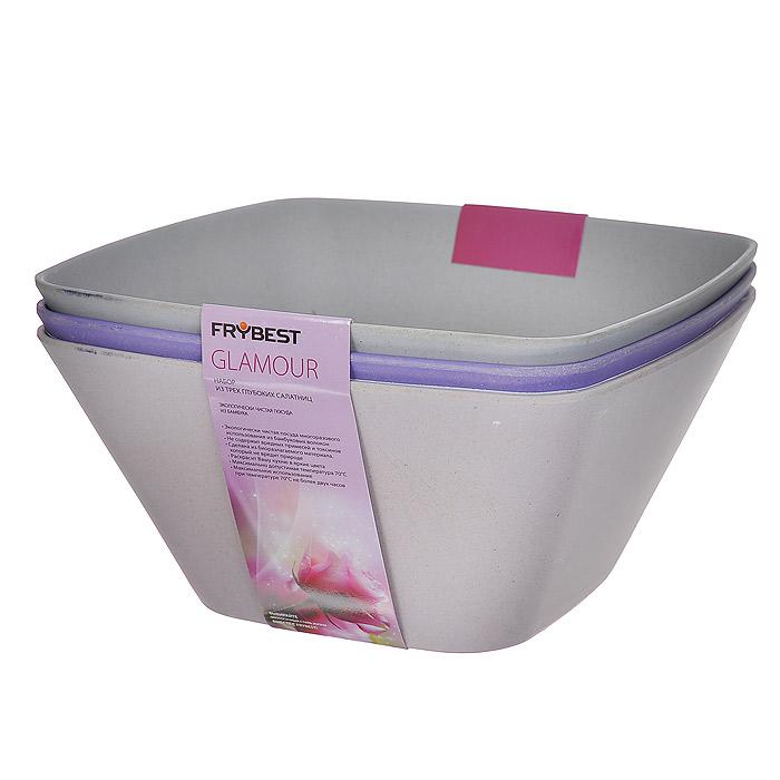 Набор салатников Frybest Glamour, цвет: фиолетовый, розовый, серый, 24,5 см х 24,5 см, 3 штGL32-S3Набор Frybest Glamour состоит из трех глубоких квадратных салатников фиолетового, розового и серого цвета. Салатники выполнены из экологически чистых бамбуковых волокон. Материал не содержит вредных примесей и токсинов, является биоразлагаемым (не вредит природе).Набор салатников Frybest Glamour раскрасит вашу кухню в яркие цвета!Максимально допустимая температура использования 70°С. Максимальное использование при температуре 70°С не более двух часов. Характеристики:Материал: бамбук. Цвет: фиолетовый, розовый, серый. Размер салатника: 24,5 см х 24,5 см. Высота стенок салатника: 12 см. Комплектация: 3 шт. Артикул: GL32-S3.