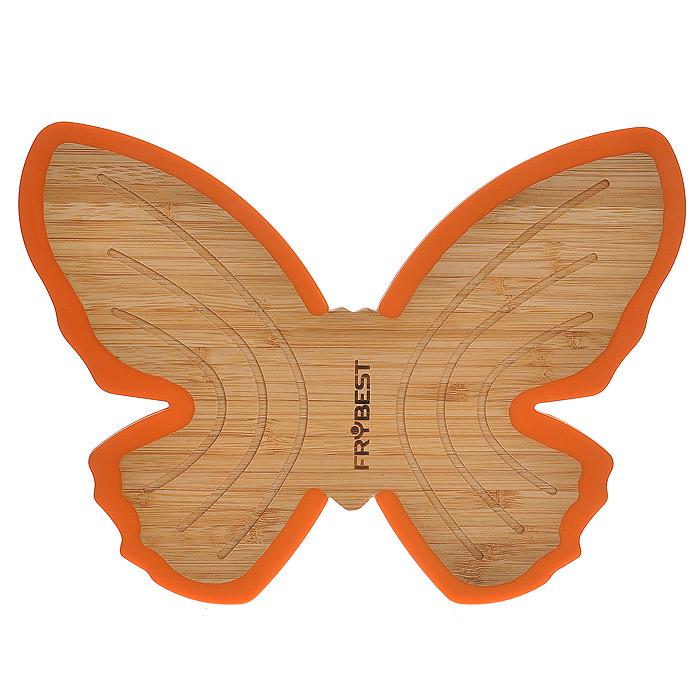Подставка под горячее Frybest Бабочка, цвет: оранжевый подставка под горячее amadeus цвет золотистый 43 см х 28 5 см 28hz 9051
