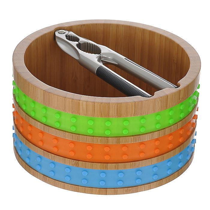 """Вместительная миска для орехов """"Frybest"""" выполнена из высококачественной древесины бамбука и декорирована яркими силиконовыми вставками. Бамбуковая миска не впитывает запахи и легко моется. Выполненная из натуральных материалов, она абсолютно экологична и гипоаллергенна.   Щипцы изготовлены из качественной стали и имеют пластиковые вставки, которые не позволят инструменту выскользнуть из ваших рук. Они прекрасно подойдут для колки орехов разных размеров. Стенки миски оснащены специальными выемками для удобного расположения щипцов.    Яркий и стильный дизайн для украшения вашей кухни! Характеристики:  Материал: бамбук, силикон, сталь, пластик. Диаметр миски по верхнему краю: 18 см. Высота стенки миски: 10 см. Длина щипцов: 16 см. Размер упаковки: 18,5 см х 18,5 см х 10,5 см. Артикул: MUR-WB."""