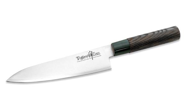 Нож-шеф Tojiro Zen, длина клинка 18 смFD-563Лезвие шеф-ножа Tojiro Zen изготовлено из трех слоев высококачественной нержавеющей стали VG10, которая обладает высокой твердостью (до 61HRC) и устойчивостью к коррозии. Режущая часть идеально сбалансирована для максимального тонкого среза поверхности. Рукоятка ножа, выполненная из искусственно состаренного дерева темного цвета, имеет эргономичную форму, которая не позволит выскользнуть ему из вашей руки.Нож имеет тяжелую рукоятку, толстое, широкое и длинное лезвие с центральным острием. Все это позволяет легко рубить капусту, овощи, зелень, резать замороженное мясо, рыбу и птицу. Такой нож займет достойное место среди аксессуаров на вашей кухне. Нож упакован в стильную подарочную коробку из плотного картона.Правила эксплуатации: - Хранить нож следует в сухом месте. - После использования, промойте нож теплой водой и протрите насухо. - Оставление ножа в загрязненном состоянии может привести к образованию коррозии. Запрещается: - Мыть нож в посудомоечной машине. - Хранить ножи в одной емкости со столовыми приборами. - Резать на твердых поверхностях: каменных столешницах, керамических тарелках, акриловых досках. - Запрещается нецелевое использование ножа: вскрывать консервные банки, разрезать кости, скоблить твердые поверхности, резать замороженные продукты. Правка производится легкими движениями на водном камне или мусате. Заточка ножа - сложный технологический процесс, должен производиться профессионалом на специальном оборудовании. Услуга по заточке ножа предоставляется специалистами компании «Тоджиро».Характеристики:Материал: нержавеющая сталь VG10, дерево, пластик. Длина лезвия ножа: 18 см. Общая длина ножа: 32 см. Размер упаковки: 34 см х 8 см х 3 см. Артикул: FD-563.Уважаемые клиенты! В случае несоблюдения правил эксплуатации, нож не подлежит гарантийному обслуживанию.