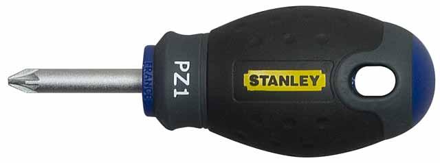 Отвертка крестовая Stanley FatMax, PZ1 х 30 мм1-65-408Отвертка крестовая Stanley FatMax предназначена для монтажа/демонтажа резьбовых соединений с применением значительных усилий.Особенности:Стержень изготовлен из хромованадиевой стали для высокой прочности и уменьшения вероятности сколов;Рукоятка отлита поверх стержня, что образует практически неразрушимое соединение деталей;Большая удобная рукоятка обеспечивает большой момент и максимальный комфорт при работе;Сужение рукоятки обеспечивает более высокий уровень контроля отвертки, когда требуется повышенная скорость и точность прикладываемого момента;Дробеструйная обработка помогает защитить жало от коррозии и прикладывать бoльший момент;Гладкий куполовидный край рукоятки обеспечивает высокую скорость и комфорт при работе;Цветовая маркировка рукоятки помогает правильно идентифицировать тип отвертки под соответствующий шлиц. Характеристики: Материал: пластик, металл. Длина жала: 3 см. Длина ручки: 6 см. Размеры упаковки: 9 см х 3 см х 3 см.