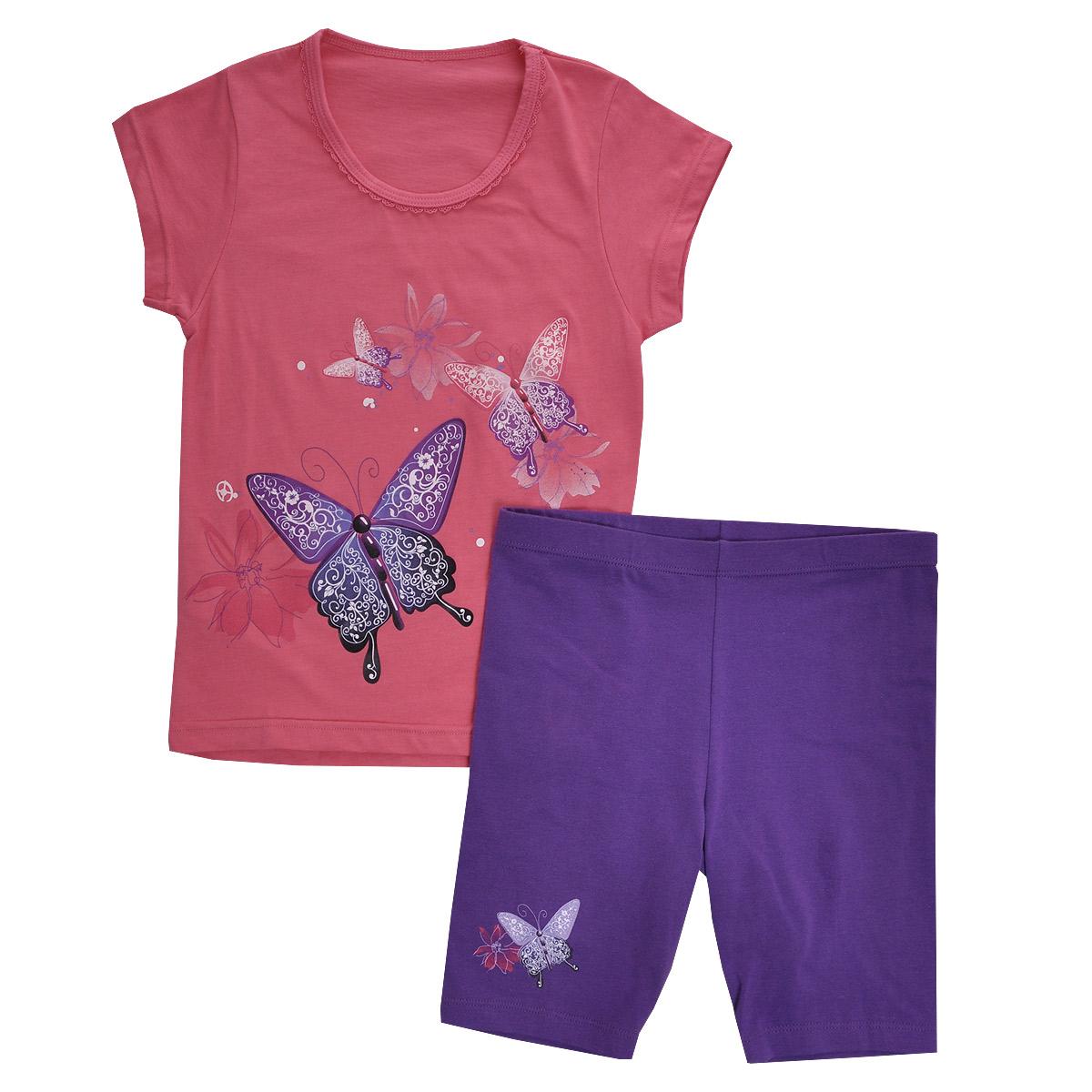 Комплект для девочки Lowry: футболка, шорты, цвет: розовый, сиреневый. GF/GL-252. Размер 30 (M)GF/GL-252Комплект для девочки Lowry, состоящий из футболки и шорт, идеально подойдет вашей малышке. Изготовленный из натурального хлопка, он необычайно мягкий и приятный на ощупь, не сковывает движения малышки и позволяет коже дышать, не раздражает даже самую нежную и чувствительную кожу ребенка, обеспечивая ему наибольший комфорт. Футболка с короткими рукавами и круглым вырезом горловины спереди оформлена яркой термоаппликацией с изображением бабочек. Вырез горловины украшен ажурными рюшами.Шортики на талии имеют широкую эластичную резинку, благодаря чему они не сдавливают животик ребенка и не сползают. Правая брючина оформлена термоаппликацией с изображением бабочки и цветочка.Оригинальный дизайн и модная расцветка делают этот комплект незаменимым предметом детского гардероба. В нем вашей маленькой принцессе будет комфортно и уютно, и она всегда будет в центре внимания!