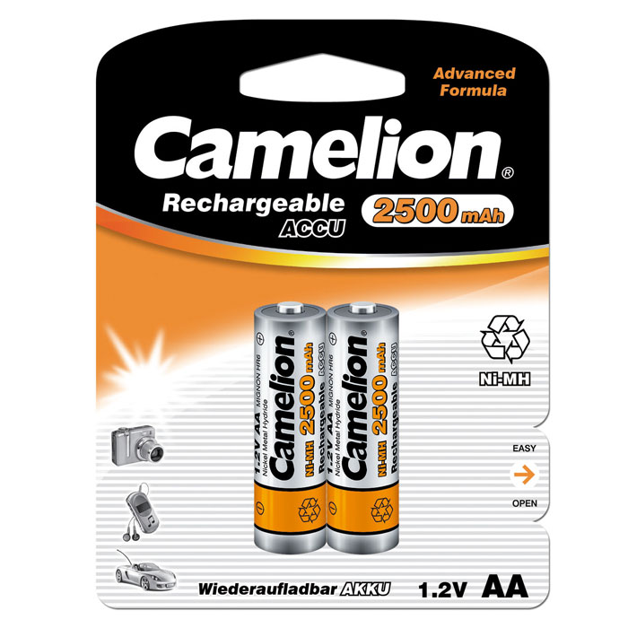 Camelion AA-2500mAh Ni-Mh BL-2 (NH-AA2500BP2) аккумулятор, 1.2В (2 шт) bty cm01 rechargeable 1 2v 2300mah aa ni mh batteries w plastic battery case green gold 4 pcs