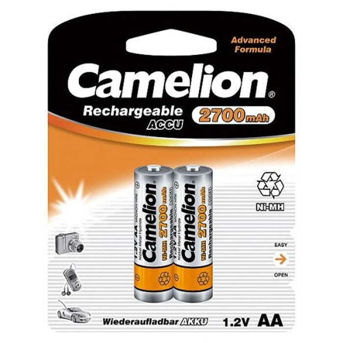 Camelion AA-2700mAh Ni-Mh BL-2 (NH-AA2700BP2) 2 аккумулятора, 1.2В bty cm01 rechargeable 1 2v 2300mah aa ni mh batteries w plastic battery case green gold 4 pcs