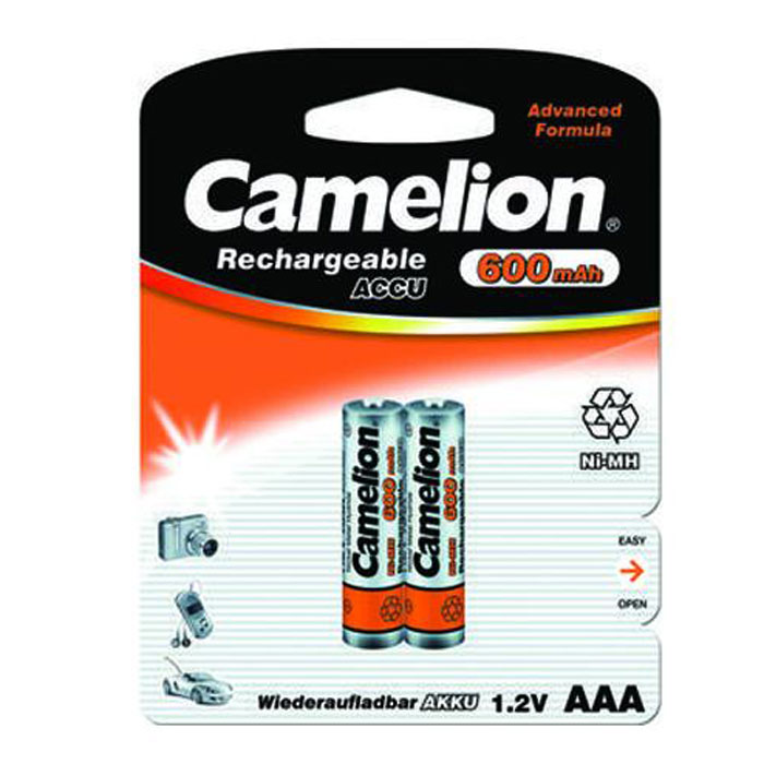 Camelion AAA-600mAh Ni-Mh BL-2 (NH-AAA600BP2) 2 аккумулятора, 1.2В rechargeable 3 6v aaa 800mah ni mh battery pack