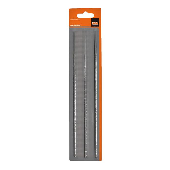 Набор напильников для заточки цепей Bahco, 200 мм х 4 мм, 3 шт168-8-4.0-3PНабор круглых напильников Bahco используется для заточки режущих зубьев пильных цепей. Характеристики: Материал: металл. Длина напильника: 20 см. Диаметр напильника: 0,4 см. Размеры упаковки: 30 см х 6,5 см х 0,5 см.