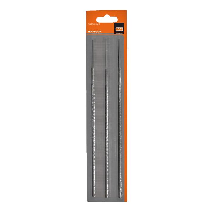 Набор напильников для заточки цепей Bahco, 200 мм х 5,5 мм, 3 шт168-8-5.5-3PНабор круглых напильников Bahco используется для заточки режущих зубьев пильных цепей. Характеристики: Материал: металл. Длина напильника: 20 см. Диаметр напильника: 0,55 см. Размеры упаковки: 30 см х 6,5 см х 1 см.