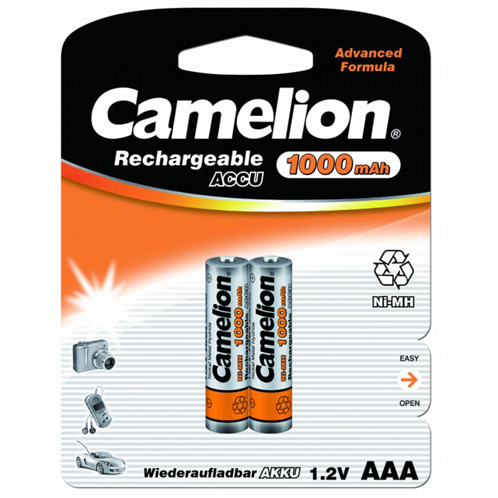 Camelion AAA-1000mAh Ni-Mh BL-2 (NH-AAA1000BP2) аккумулятор, 1.2В, 2 шт fandyfire rechargeable 1 2v 1200mah ni mh aaa battery actual 1100mah 4 piece pack