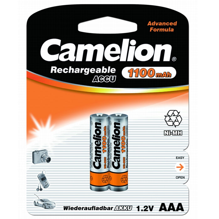 Camelion AAA-1100mAh Ni-Mh BL-2 (NH-AAA1100BP2) 2 аккумулятора, 1.2В fandyfire rechargeable 1 2v 1200mah ni mh aaa battery actual 1100mah 4 piece pack