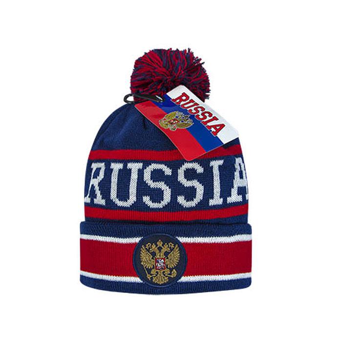 Шапка Россия, цвет: белый, синий, красный. 11329. Размер S/M (52-54)11329Шапка Россия выполнена из акрила. Она максимально сохраняет тепло, мягкая и идеально прилегает к голове. Акрил обеспечивает меньшее сваливание, а также более удобную носку и прочность. Шапка украшена помпоном и вышитым на лобовой части гербом России. Эта спортивно-городская модель шапки подойдет как мужчине, так и женщине.
