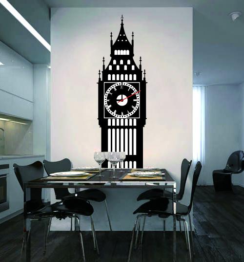 Настенные декоративные часы-стикеры Perfecto Big Ben. GLM-T005GLM-T005Настенные декоративные часы-стикеры Big Ben добавят в интерьер вашего дома оригинальности. Часы представляют собой стикер, выполненный из винила - тонкого эластичного материала, который хорошо прилегает к любым гладким и чистым поверхностям, легко моется и долго держится, после удаления не оставляет следов. Циферблат выполнен из плотного картона и имеет три стрелки - часовую, минутную и секундную, клеится к поверхности также при помощи стикера.Такие часы станут интересным дизайнерским решением не только спальни, гостиной или детской, но также и офиса. Характеристики: Материал: винил, пластик, картон. Цвет: черный, белый. Диаметр циферблата: 9,5 см. Размер стикера: 71 см х 22 см.Размер упаковки: 18,5 см х 32 см х 4 см. Артикул: GLM-T005. Рекомендуется докупить одну батарейку типа АА, в комплект не входит.