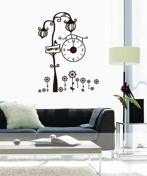 Настенные декоративные часы-стикеры Perfecto Happy Day. GLM-T012GLM-T012Настенные декоративные часы-стикеры Happy Day в виде фонарного столба с часами добавят в ваш интерьер оригинальности. Часы представляют собой стикер, выполненный из винила - тонкого эластичного материала, который хорошо прилегает к любым гладким и чистым поверхностям, легко моется и долго держится, после удаления не оставляет следов. Циферблат выполнен из пластика и имеет три стрелки - часовую, минутную и секундную, клеится к поверхности также при помощи стикера.Такие часы станут интересным дизайнерским решением не только спальни, гостиной или детской, но также и офиса. Характеристики: Материал: винил, пластик, картон. Цвет: белый, коричневый. Диаметр циферблата: 10 см. Размер упаковки: 18,5 см х 32 см х 4 см. Артикул: GLM-T012. Рекомендуется докупить одну батарейку типа АА, в комплект не входит.