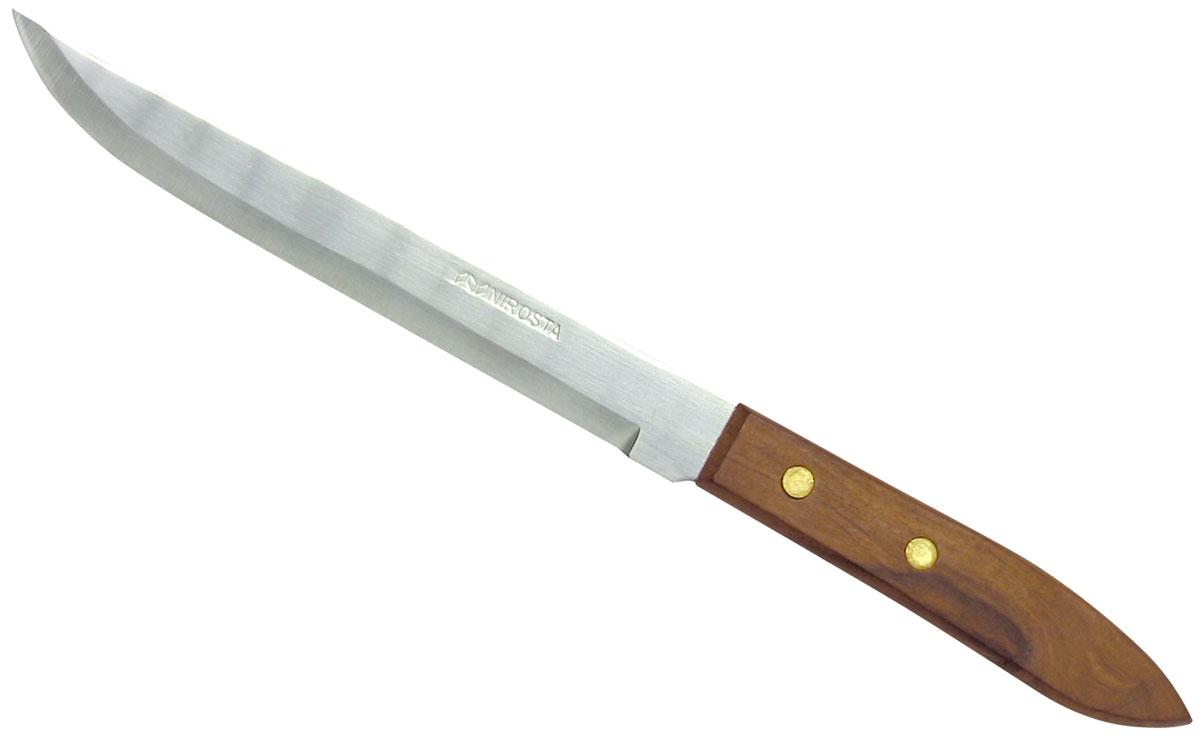 """Fackelmann """"Country"""" - нож для мяса, который имеет изящную форму и высокопрочное лезвие из нержавеющей стали. Он подойдет как для новичка, так и для настоящего профессионала. Ручка изготовлена из полимерной древесины. Ручка не горит, не плавится. Благодаря этому она не сломается, не оплавится и сохранит свой внешний вид надолго.   Характеристики: Материал:  нержавеющая сталь, дерево. Общая длина ножа:  29 см. Длина лезвия ножа: 18 см. Размер упаковки: 34 см х 6 см х 1,5 см. Артикул: 41731."""