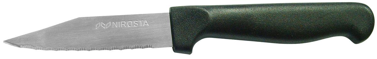 Нож для чистки овощей Nirosta Ultra, длина лезвия 8 см41770Нож для чистки овощей Fackelmann Ultra изготовлен из нержавеющей стали. Рукоятка, выполненная из пластика черного цвета, удобно лежит в руке, не скользит и делает резку удобной и безопасной. Лезвие оснащено мелкими зубчиками, что удобно для очистки овощей и фруктов от кожуры. В комплекте - защитный чехол для лезвия.Практичный и функциональный нож Fackelmann Ultra займет достойное место среди аксессуаров на вашей кухне. Характеристики:Материал: пластик, нержавеющая сталь. Длина ножа: 18,5 см. Длина лезвия ножа: 8 см. Артикул: 41770.