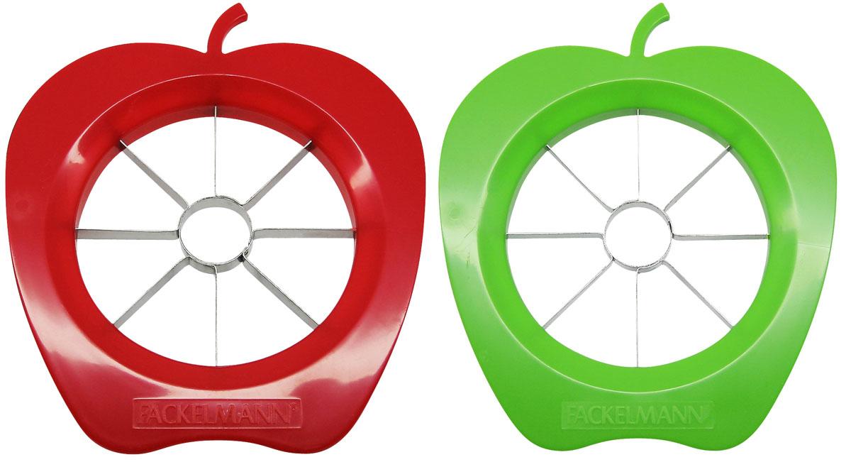 """Яблокорезка """"Fackelmann"""" изготовлена из пластика и нержавеющей стали. Она идеально подойдет для приготовления фруктовой нарезки за считанные секунды. Яблокорезка разрезает на ровные, одинаковые кусочки с уже вырезанной сердцевиной.  Такая яблокорезка станет незаменимым помощником на вашей кухне. Характеристики:  Материал:  нержавеющая сталь, пластик. Размер яблокорезки:  16 см х 14 см х 1 см. Диаметр рабочей поверхности:  9 см. Размер упаковки: 22 см х 14 см х 1 см. Артикул:  42015."""