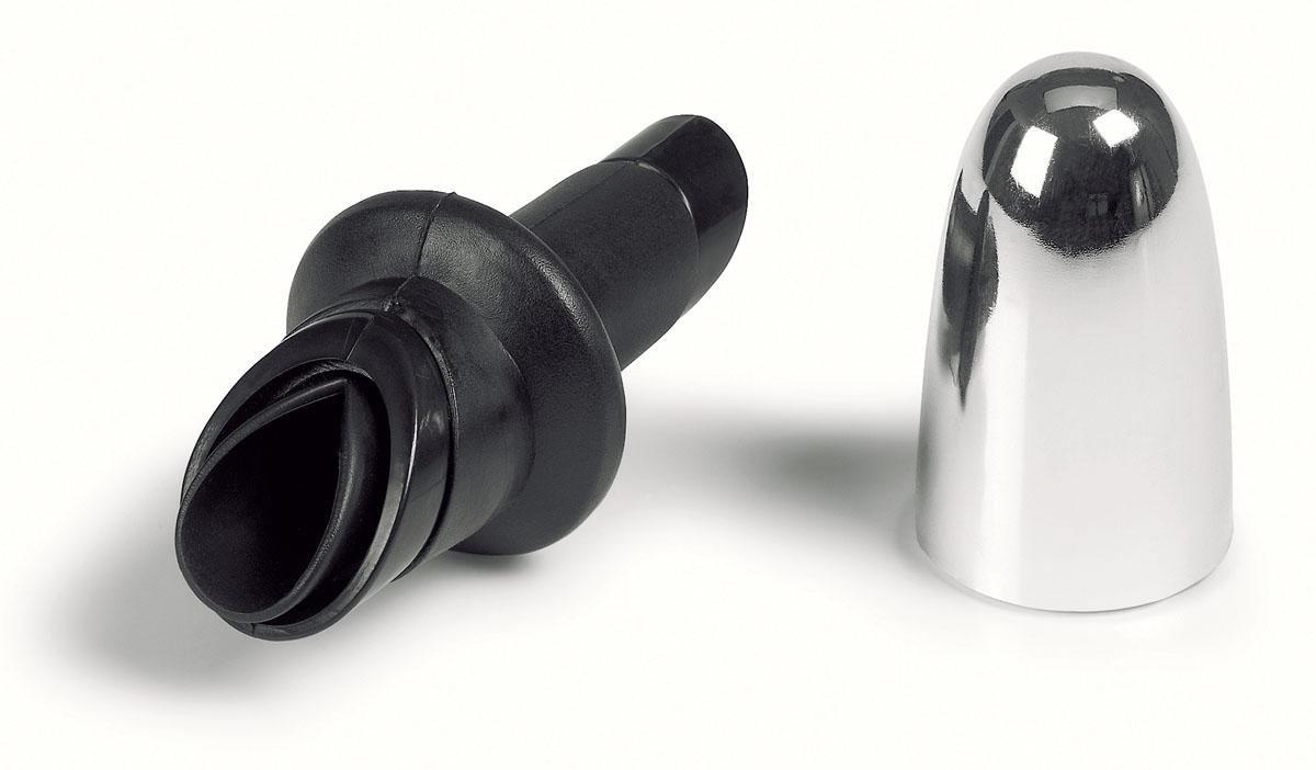 """Насадка для бутылки """"Fackelmann"""" выполнена из резины и хромированного пластика. Насадка оснащена удобным носиком для розлива, который плотно закрывается пластиковым колпачком. Насадка предназначена для установки на горлышко бутылок. Хранить бутылку можно уже с насадкой. С насадкой дозировать жидкость станет намного удобнее, а узкий носик не даст жидкости пролиться.   Характеристики:  Материал: резина, хромированный пластик. Цвет: черный, серебристый. Длина насадки: 10 см. Артикул: 49468."""