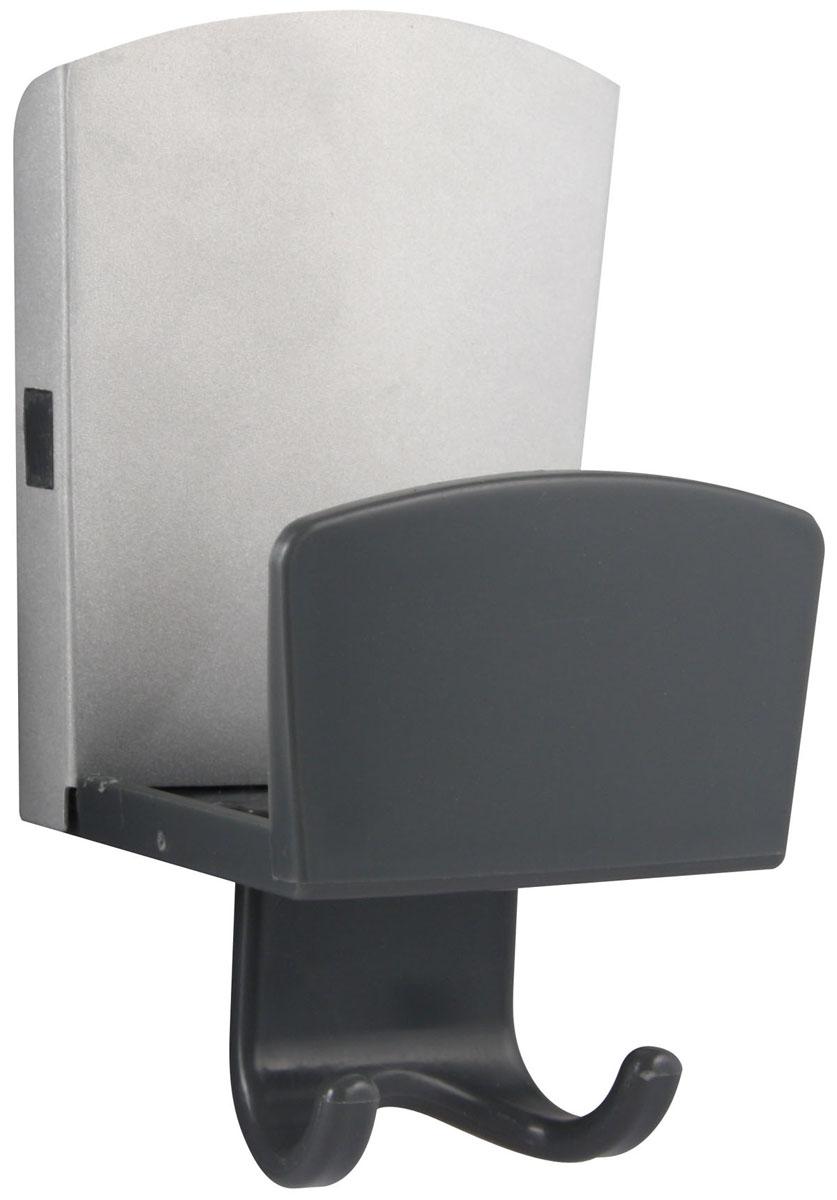 """Крючок Fackelmann """"Techno"""" выполнен из алюминиевого сплава и пластика. Изделие оснащено двумя маленькими крючками и держателем для губки. Прикрепить крючок можно при помощи присоски или самоклеящейся основы.  Такой крючок легко прикрепить и удобно использовать, после снятия не оставляет следов на поверхности. Характеристики:  Материал: алюминиевый сплав, пластик. Размер крючка (ДхШхВ): 7,5 см х 5,5 см х 12 см. Размер упаковки: 8 см х 5,5 см х 22 см. Артикул: 61162.    УВАЖАЕМЫЕ КЛИЕНТЫ!  Обращаем ваше внимание на возможные изменения в цветовом дизайне товара - крючок может быть как белого цвета, так и серого. Поставка осуществляется в зависимости от наличия на складе."""