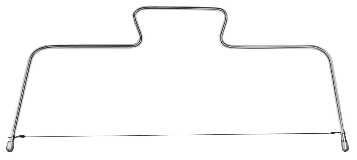 """Кулинарный нож-струна """"Fackelmann"""", изготовленный из хромированной стали, предназначен для нарезания коржей. Коржи получаются ровные, и можно регулировать их толщину. С таким ножом вы легко разрежете корж на 3 или 4 части. К ножу прилагает одна запасная струна.   Характеристики:Материал: хромированная сталь, пластик. Размер ножа: 31 см х 16 см. Длина струны: 29,5 см. Размер упаковки: 38 см х 16 см х 1 см. Артикул: 43403. Компания """"Fackelmann"""" была основана в 1948 году и в настоящее время является крупнейшим мировым поставщиком товаров для дома. В ассортименте компании найдутся товары для самых разных покупателей. Продукция """"Fackelmann"""" выполнена из различных комбинаций металла - нержавеющей, хромированной, никелированной и луженой стали, светлого и темного дерева - бука и сосны, пластмассы, акрила, прозрачного, матового и цветного стекла. С продукцией """"Fackelmann"""" ваш дом станет красивее, уютнее и намного удобнее!"""