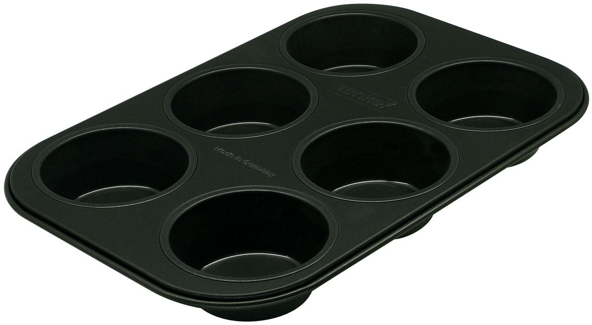 """Форма для выпечки Zenker """"Black"""" выполнена из углеродистой стали с антипригарным покрытием DuPont Teflon Classic. Форма имеет 6 ячеек, предназначенных для выпечки кексов. Выпечка не пригорает и не прилипает к стенкам. Такая форма значительно экономит время по сравнению с аналогичными формами для выпечки. С формой для выпечки кексов Zenker """"Black"""" готовить любимые блюда станет еще проще. Перед первым применением форму вымыть и смазать маслом. Максимальная температура нагрева 230°С. Не резать форму ножом, не допускать воздействия кислот. Характеристики: Материал: углеродистая сталь. Размер формы: 28 см х 19 см. Высота стенки: 3 см. Количество ячеек: 6 шт. Диаметр ячейки: 7 см. Цвет: черный. Артикул: 6534."""