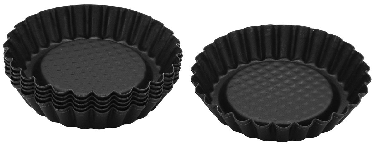 Форма для выпечки тарталеток Zenker Black, цвет: черный, диаметр 10 см, 6 шт набор формочек для выпечки сердце 2 шт 631190