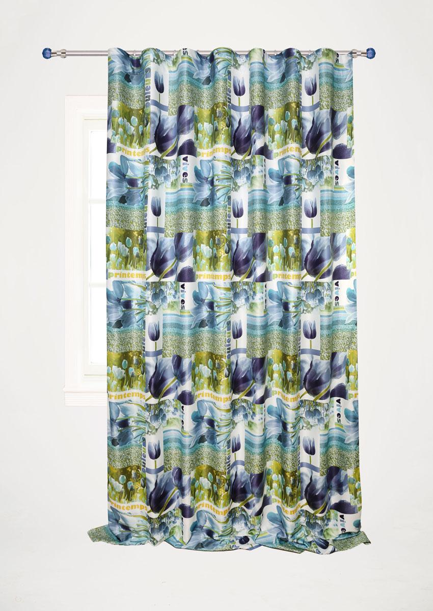 Штора готовая для гостиной Garden, на ленте, цвет: синий, размер 200*280 см. С 10231 - W1223 V5С 10231 - W1223 V5Штора портьерная Garden выполнена из сатин (полиэстера) и украшена изображением цветов. Блестящая текстура материала и нежная цветовая гамма привлекут к себе внимание и органично впишутся в интерьер помещения.Изделие оснащено шторной лентой для красивой сборки.Штора Garden великолепно украсит любое окно.