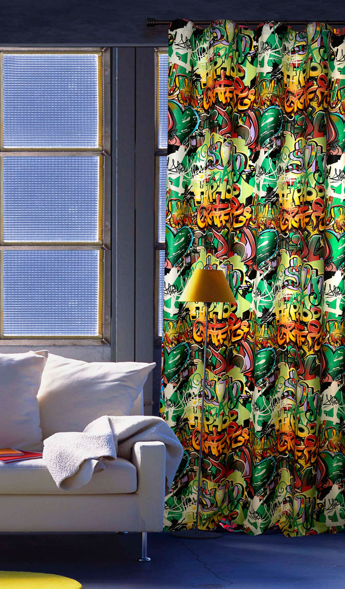 Штора готовая для гостиной Garden, на ленте, цвет: зеленый, размер 200*260 см. С 10237 - W1223 V4С 10237 - W1223 V4Штора портьерная для гостиной Garden выполнена из плотного сатина (полиэстера) и оформлена оригинальным принтом в виде граффити. Качественная текстура материала и яркая цветовая гамма украсят окно и сделает комнату стильной и необычной.Изделие оснащено шторной лентой для красивой сборки.