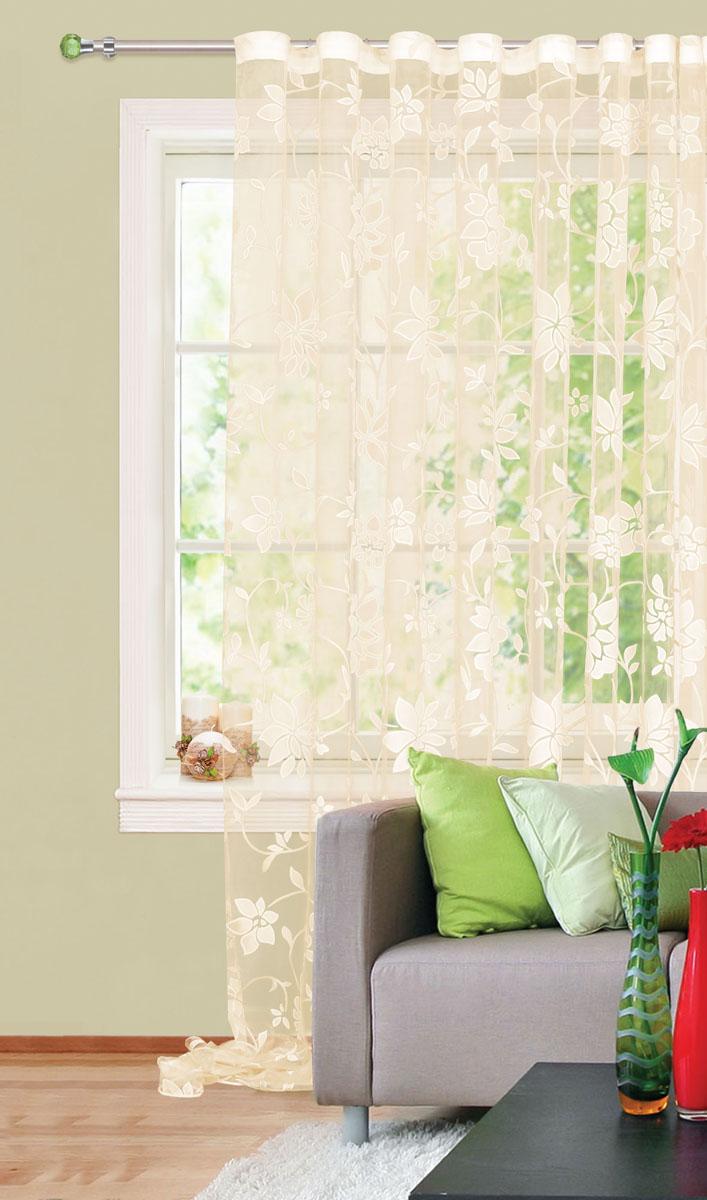 Штора готовая для гостиной Garden, на ленте, цвет: золотистый, размер 300* 280см. С 4172 - W260 V25С 4172 - W260 V25Штора тюлевая для гостиной Garden выполнена из тонкой полупрозрачной органзы (полиэстера) и богато украшена цветочным узором. Легкая текстура материала и нежная цветовая гамма привлекут к себе внимание и органично впишутся в интерьер помещения.Изделие оснащено шторной лентой для красивой сборки.Штора Garden великолепно украсит любое окно.